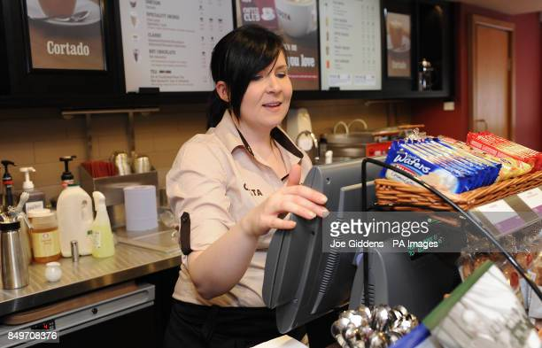 Manager Louise Henshaw at work at Costa coffee in Mapperley Nottingham