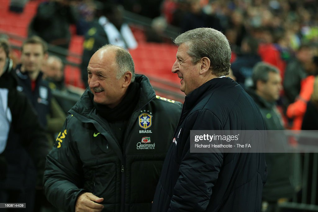 Manager Luiz Felipe Scolari of Brazil and Manager Roy Hodgson of England are seen during the International Friendly match between England and Brazil at Wembley Stadium on February 6, 2013 in London, England.