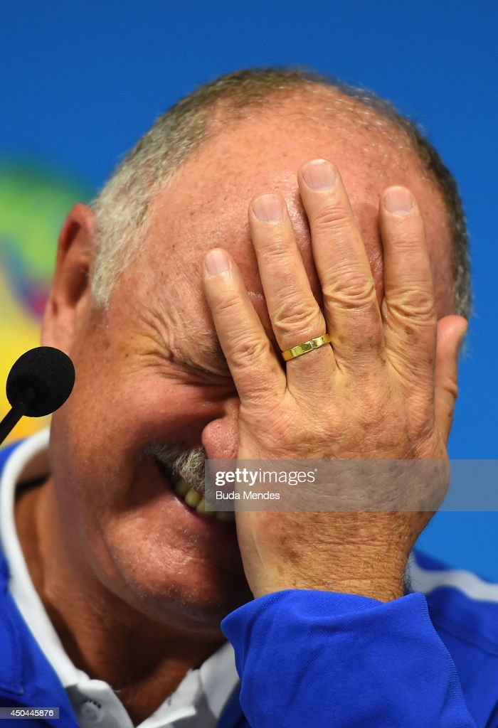 Manager <a gi-track='captionPersonalityLinkClicked' href=/galleries/search?phrase=Luiz+Felipe+Scolari&family=editorial&specificpeople=233747 ng-click='$event.stopPropagation()'>Luiz Felipe Scolari</a> of Brazil reacts during a Brazil press conference ahead of the 2014 FIFA World Cup Brazil opening match against Croatia at Arena de Sao Paulo on June 11, 2014 in Sao Paulo, Brazil.