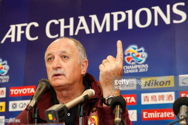 Manager Luiz Felipe Scolari of Guangzhou Evergrande attends a press conference ahead of 2017 AFC Champions League group match between Eastern Sports...