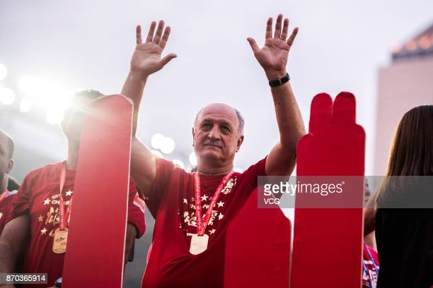 Manager Luiz Felipe Scolari of Guangzhou Evergrande attends the Champion Award Ceremony for 2017 Chinese Football Association Super League on...
