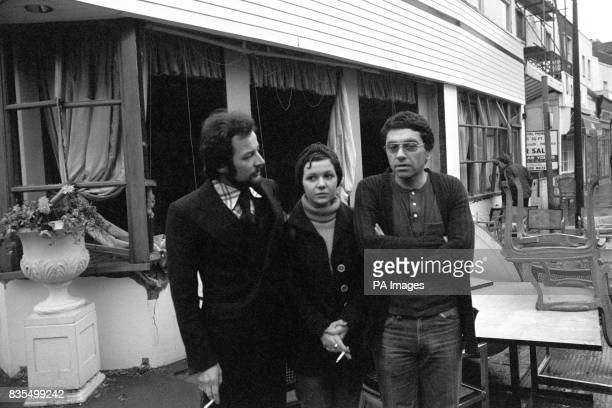 Manager Malcolm Livingston left assistant manageress Maryse Chirent and chef Michael Osborn outside the wrecked Walton's Restaurant in Chelsea after...