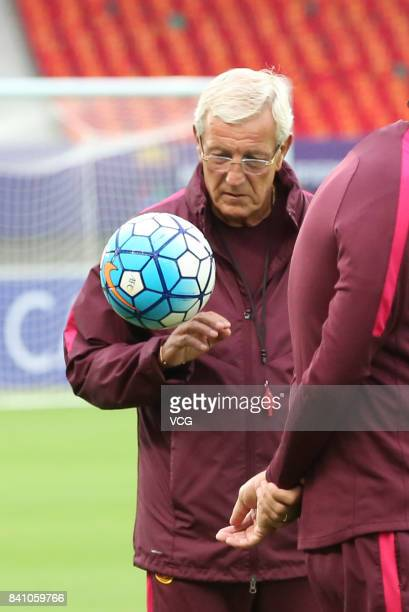 Manager Marcello Lippi of China in action during a training session ahead of the 2018 FIFA World Cup qualifier game between China and Uzbekistan on...