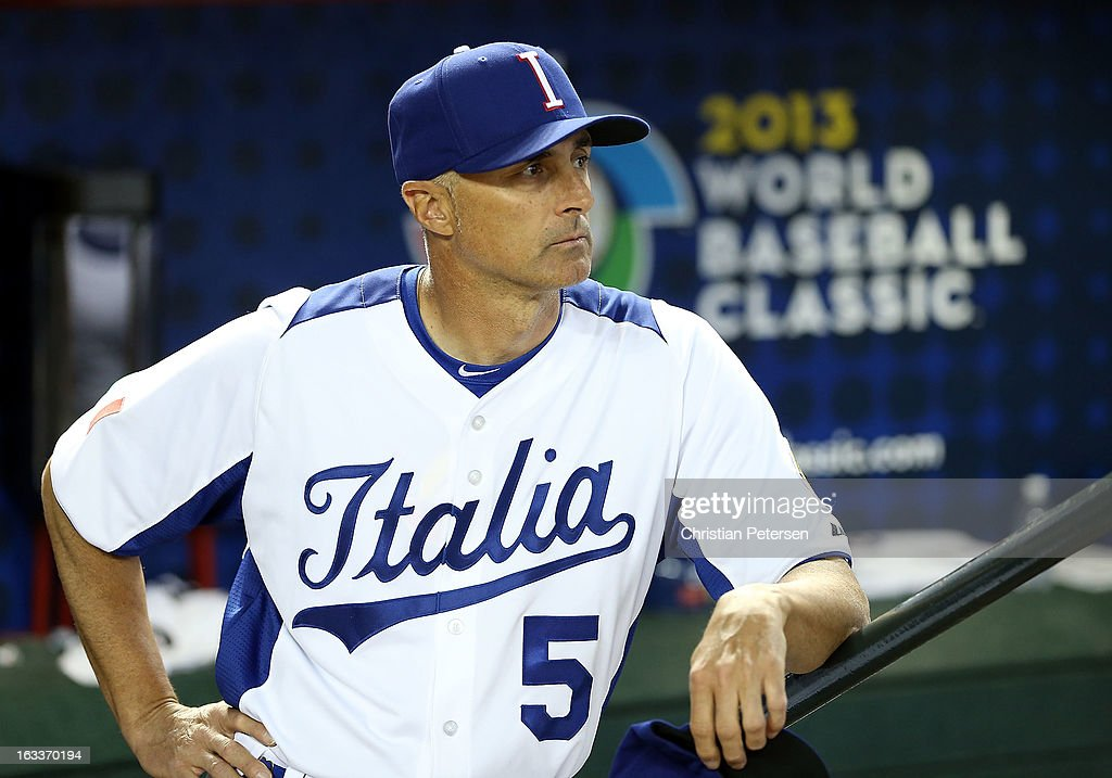 Manager Marco Mazzieri of Italy watches from the dugout before the World Baseball Classic First Round Group D game against Canada at Chase Field on March 8, 2013 in Phoenix, Arizona.