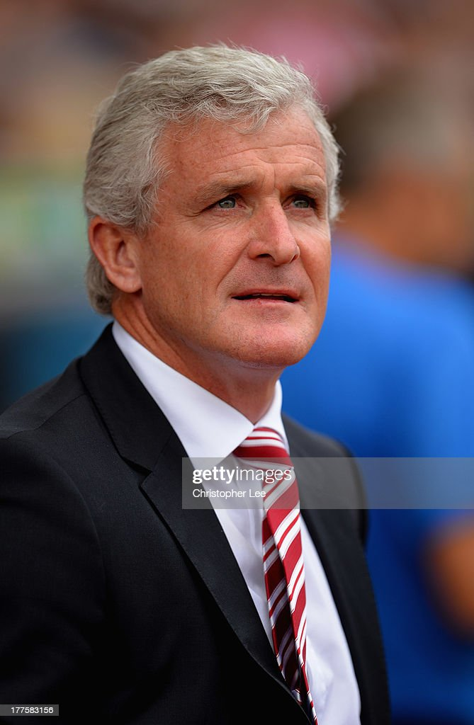 Manager Mark Hughes of Stoke City during the Barclays Premier League match between Stoke City and Crystal Palace at Britannia Stadium on August 24, 2013 in Stoke on Trent, England.