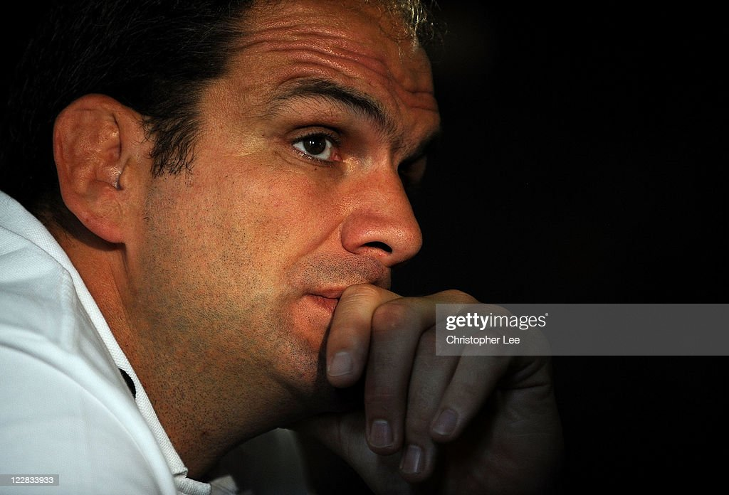 Manager Martin Johnson of England talks to the media during the England Rugby Team Departure Press Conference at Pennyhill Park on August 29, 2011 in Bagshot, England.