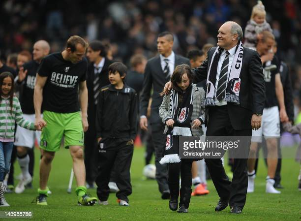 Manager Martin Jol of Fulham appaulds the fans during the Fulham lap of honour during the Barclays Premier League match between Fulham and Sunderland...