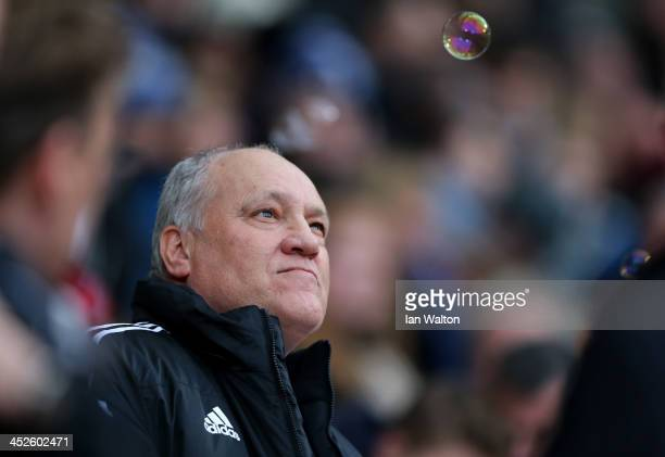 Manager Martin Jol of Fulham looks on prior to the Barclays Premier League match between West Ham United and Fulham at Boleyn Ground on November 30...