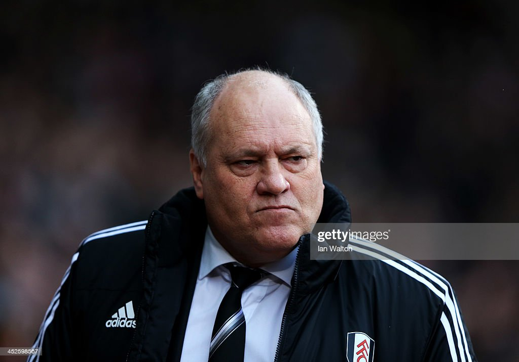 Manager <a gi-track='captionPersonalityLinkClicked' href=/galleries/search?phrase=Martin+Jol&family=editorial&specificpeople=215368 ng-click='$event.stopPropagation()'>Martin Jol</a> of Fulham looks thoughtful prior to the Barclays Premier League match between West Ham United and Fulham at Boleyn Ground on November 30, 2013 in London, England.