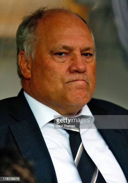 Manager Martin Jol of Fulham watches on during the Capital One Cup Second Round match between Burton Albion and Fulham at the Pirelli Stadium on...