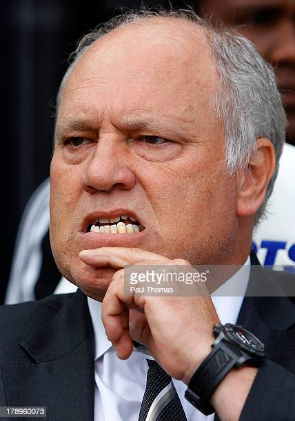Manager Martin Jol of Fulham watches on during the Premier League match between Newcastle United and Fulham at the St James Park on August 31 2013 in...