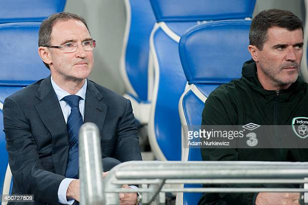 Manager Martin O'Neill of Ireland and Assistant Roy Keane watch during the International friendly match between Poland and Ireland at the Inea...
