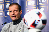 Manager Massimiliano Allegri speaks to media prior to a Juventus FC training session at AAMI Park on July 22 2016 in Melbourne Australia