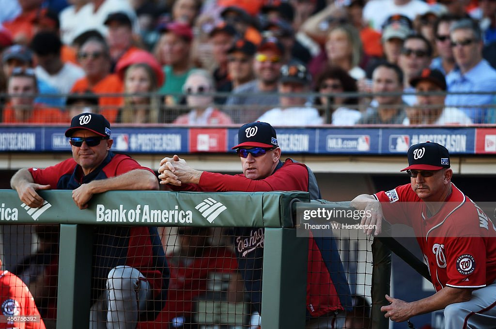Manager <a gi-track='captionPersonalityLinkClicked' href=/galleries/search?phrase=Matt+Williams+-+Baseball+Manager&family=editorial&specificpeople=11566291 ng-click='$event.stopPropagation()'>Matt Williams</a> #9 (C) of the Washington Nationals looks on from the dugout during Game Three of the National League Division Series against the San Francisco Giants at AT&T Park on October 6, 2014 in San Francisco, California.
