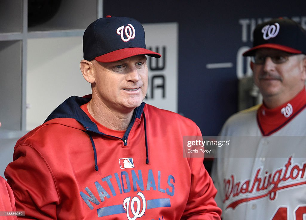 Manager <a gi-track='captionPersonalityLinkClicked' href=/galleries/search?phrase=Matt+Williams+-+Baseball+Manager&family=editorial&specificpeople=11566291 ng-click='$event.stopPropagation()'>Matt Williams</a> #9 of the Washington Nationals looks on from the dugout before a game against the San Diego Padres at Petco Park May 14, 2015 in San Diego, California.