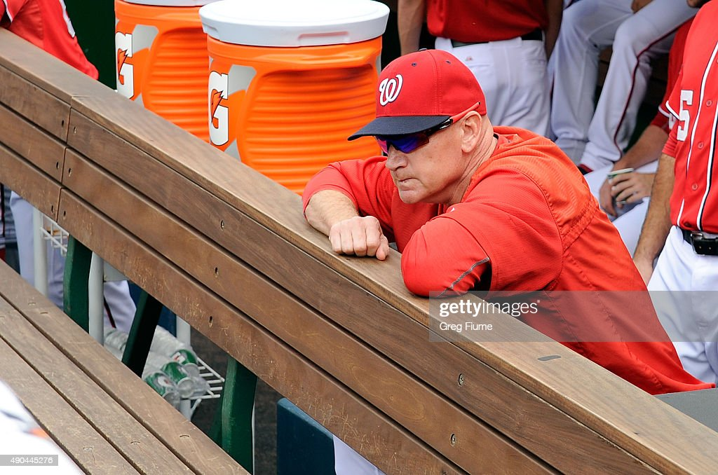 Manager <a gi-track='captionPersonalityLinkClicked' href=/galleries/search?phrase=Matt+Williams+-+Baseball+Manager&family=editorial&specificpeople=11566291 ng-click='$event.stopPropagation()'>Matt Williams</a> #9 of the Washington Nationals looks out of the dugout before the game against the Cincinnati Reds at Nationals Park on September 28, 2015 in Washington, DC.
