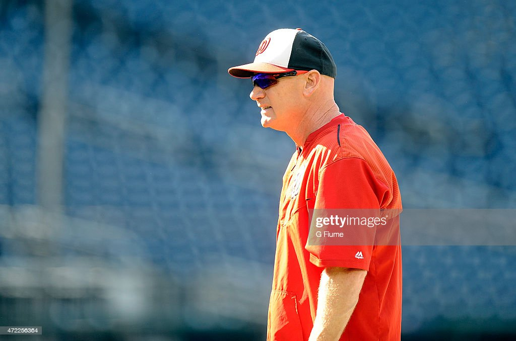 Manager Matt Williams #9 of the Washington Nationals watches batting practice before the game against the Miami Marlins at Nationals Park on May 4, 2015 in Washington, DC.