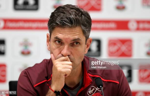 Manager Mauricio Pellegrino during a Southmpton FC press conference at the Staplewood Campus on November 16 2017 in Southampton England