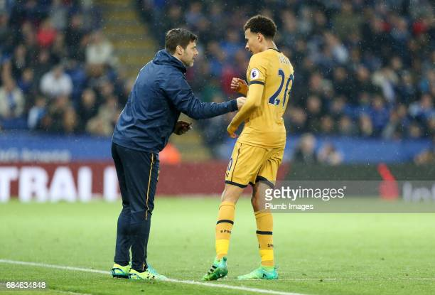 Manager Mauricio Pochettino of Tottenham Hotspur with Dele Alli of Tottenham Hotspur during the Premier League match between Leicester City and...