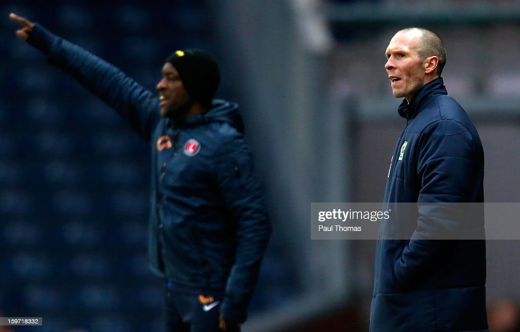 Manager Michael Appleton (R) of Blackburn during the npower Championship match between Blackburn Rovers and Charlton Athletic at Ewood Park on January 19, 2013 in Blackburn, England.
