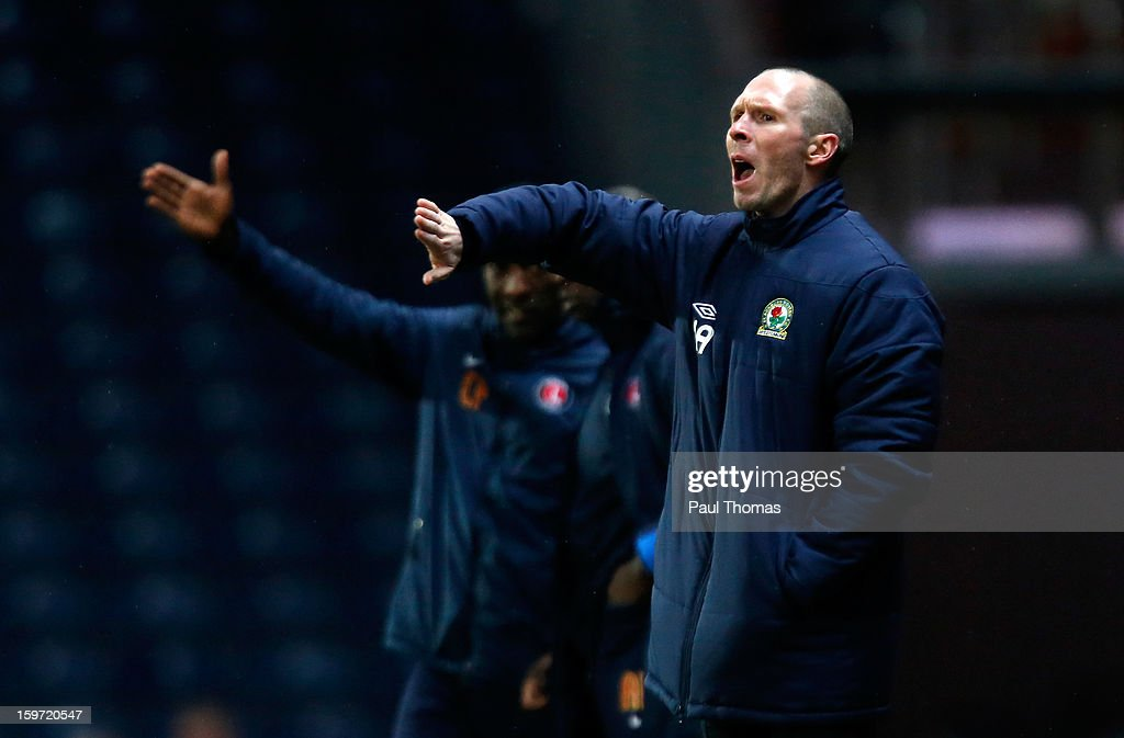 Manager Michael Appleton of Blackburn gestures from the touchline during the npower Championship match between Blackburn Rovers and Charlton Athletic at Ewood Park on January 19, 2013 in Blackburn, England.