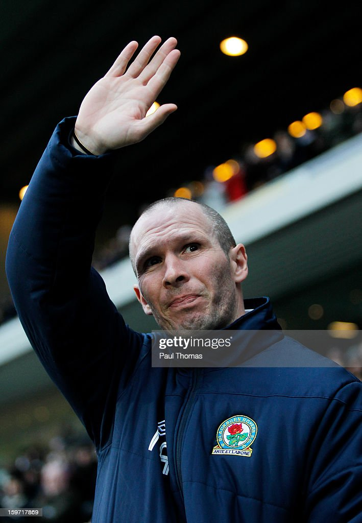 Manager Michael Appleton of Blackburn waves to the fans before the npower Championship match between Blackburn Rovers and Charlton Athletic at Ewood Park on January 19, 2013 in Blackburn, England.