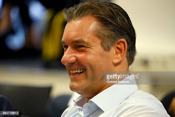 Manager Michael Zorc attends the press briefing on the annual results of Borussia Dortmund at Signal Iduna Park on August 21 2015 in Dortmund Germany