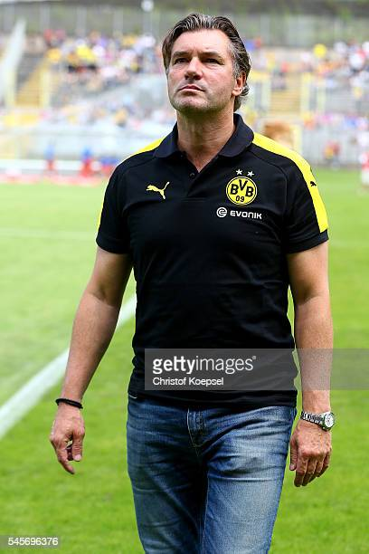 Manager Michael Zorc of Dortmund is seen prior to the friendly match between Wuppertaler SV and Borussia Dortmund at Stadion Zoo on July 9 2016 in...