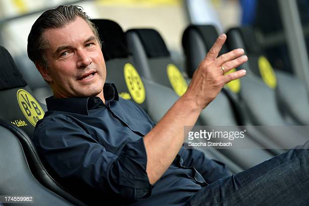 Manager Michael Zorc of Dortmund looks on prior to the DFL Supercup match between Borussia Dortmund and FC Bayern Muenchen at Signal Iduna Park on...