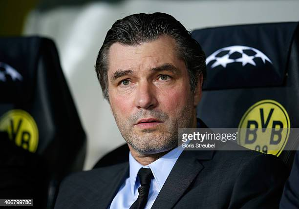 Manager Michael Zorc of Dortmund looks on prior to the UEFA Champions League Round of 16 second leg match between Borussia Dortmund and Juventus at...