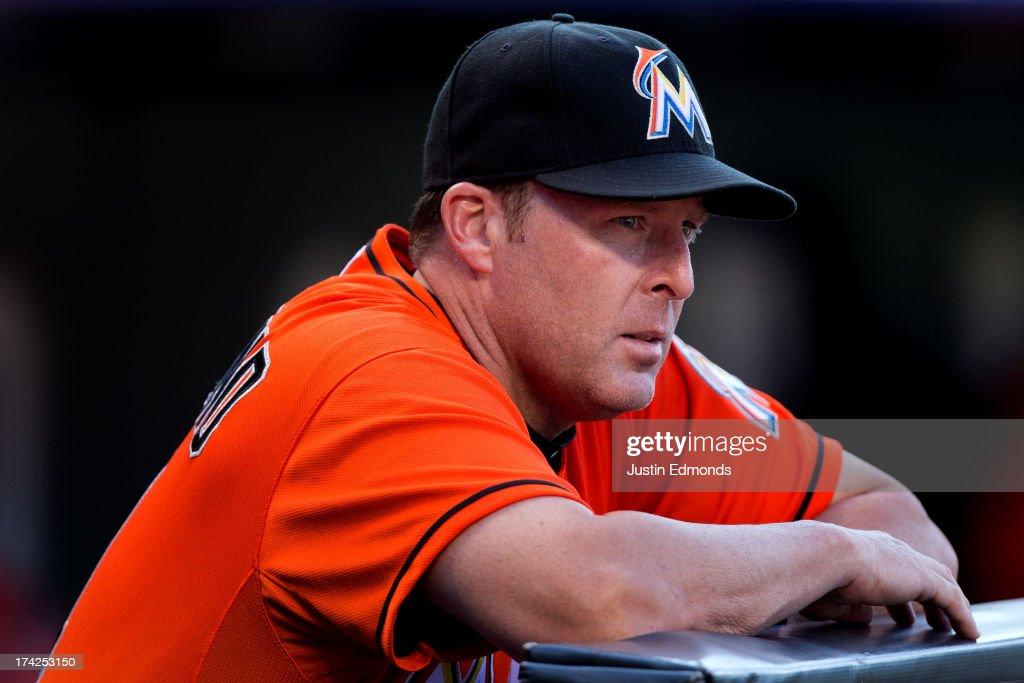 Manager Mike Redmond of the Miami Marlins looks on during a game against the Colorado Rockies at Coors Field on July 22, 2013 in Denver, Colorado.