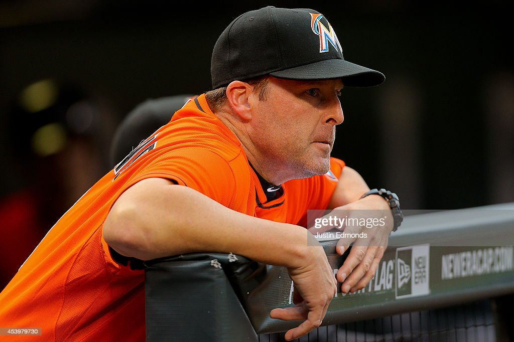 Manager Mike Redmond of the Miami Marlins looks on during a game against the Colorado Rockies at Coors Field on August 22, 2014 in Denver, Colorado.