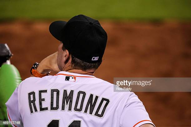 Manager Mike Redmond of the Miami Marlins looks on during the fourth inning of the game against the Atlanta Braves at Marlins Park on April 8 2015 in...