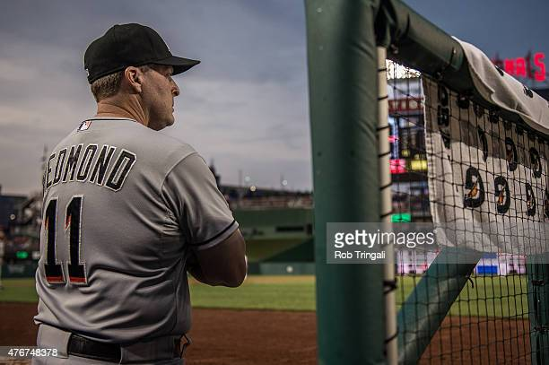 Manager Mike Redmond of the Miami Marlins looks on from the dugout during the game against the Washington Nationals at Nationals Park on May 5 2015...