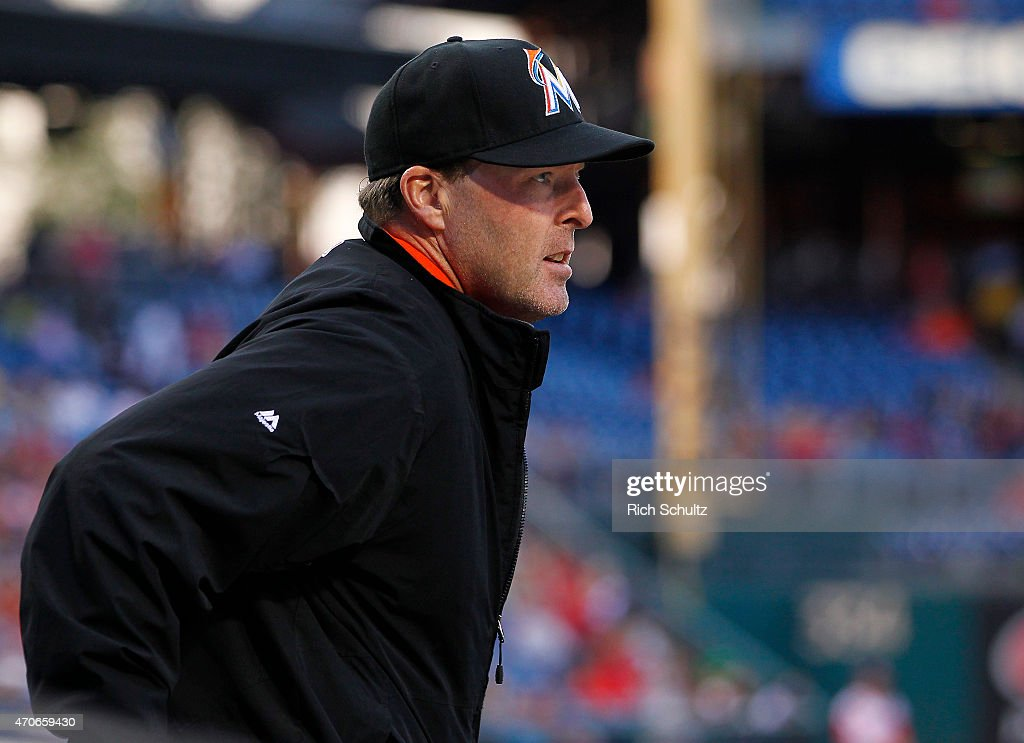 Manager Mike Redmond #11 of the Miami Marlins looks onto the field during a game against the Philadelphia Phillies at Citizens Bank Park on April 21, 2015 in Philadelphia, Pennsylvania.