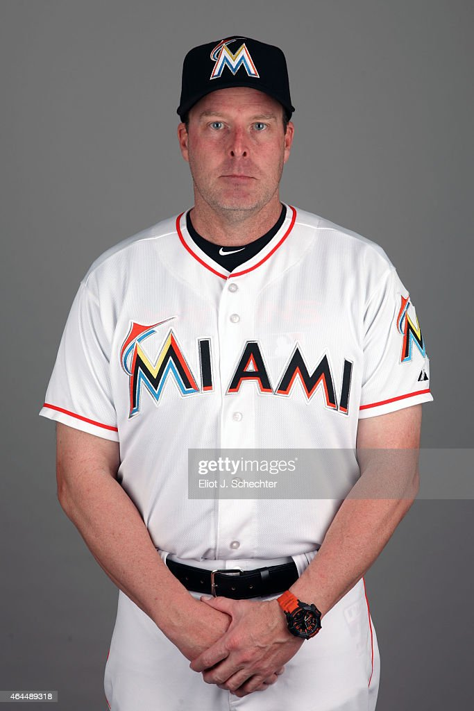 Manager <a gi-track='captionPersonalityLinkClicked' href=/galleries/search?phrase=Mike+Redmond&family=editorial&specificpeople=228450 ng-click='$event.stopPropagation()'>Mike Redmond</a> #11 of the Miami Marlins poses during Photo Day on Wednesday, February 25, 2015 at Roger Dean Stadium in Jupiter, Florida.