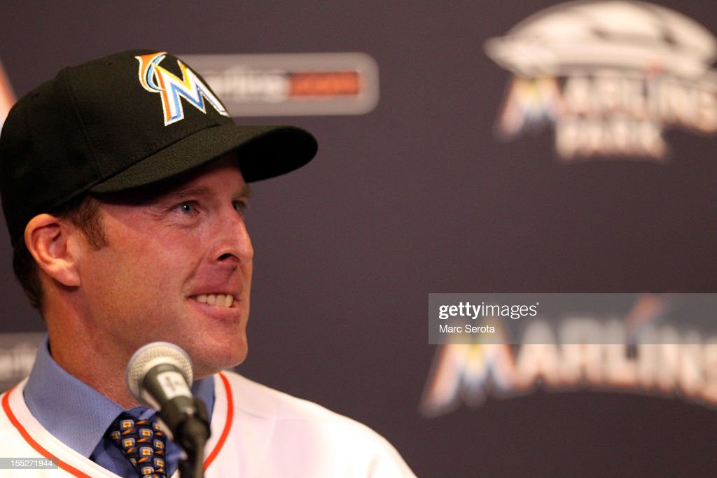 Manager <a gi-track='captionPersonalityLinkClicked' href=/galleries/search?phrase=Mike+Redmond&family=editorial&specificpeople=228450 ng-click='$event.stopPropagation()'>Mike Redmond</a> of the Miami Marlins speaks to the media after being named manager at Marlins Park on November 2, 2012 in Miami, Florida.