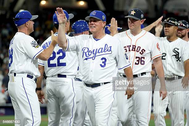 Manager Ned Yost of the Kansas City Royals and the American League congratulates his team after defeating the National League 42 the 87th Annual MLB...