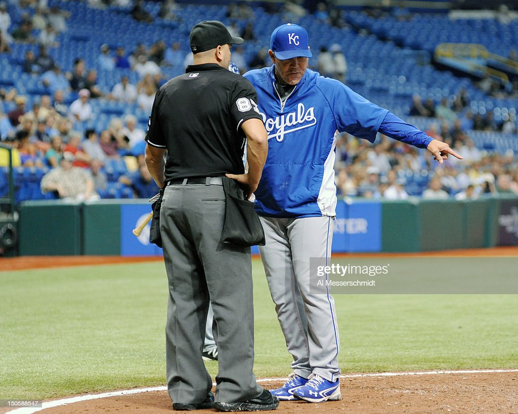 Manager <a gi-track='captionPersonalityLinkClicked' href=/galleries/search?phrase=Ned+Yost&family=editorial&specificpeople=228571 ng-click='$event.stopPropagation()'>Ned Yost</a> #3 of the Kansas City Royals argues a call during play against the Tampa Bay Rays August 22, 2012 at Tropicana Field in St. Petersburg, Florida.