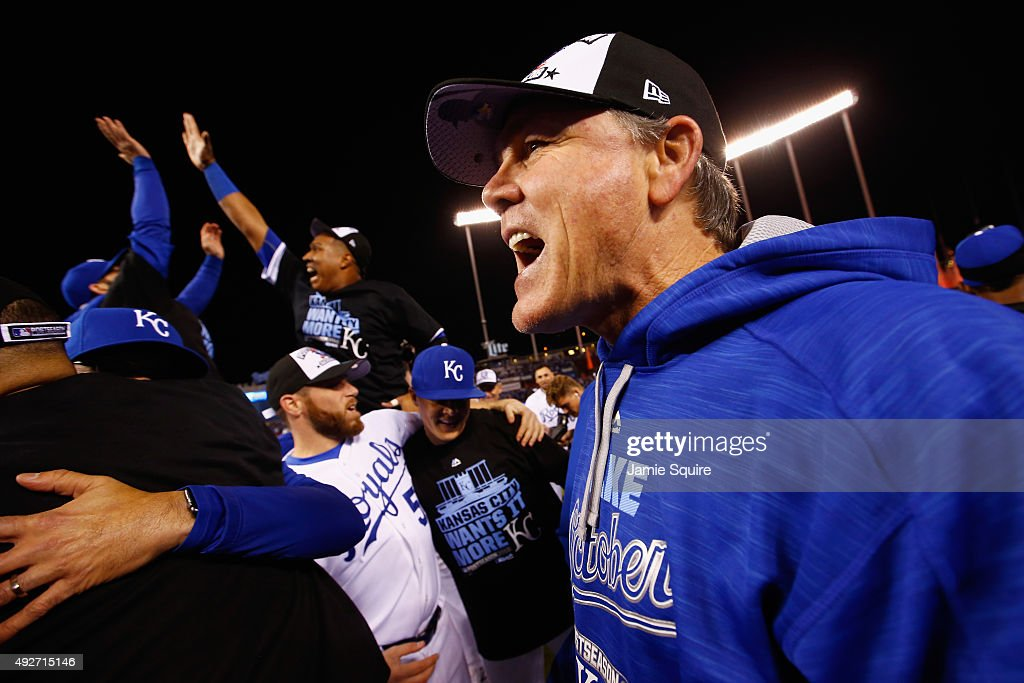 Manager Ned Yost #3 of the Kansas City Royals celebrates after the Kansas City Royals defeat the Houston Astros 7-2 in game five of the American League Divison Series at Kauffman Stadium on October 14, 2015 in Kansas City, Missouri.
