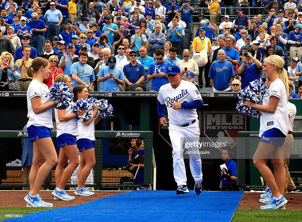 Manager Ned Yost #3 of the Kansas City Royals is introduced during player introductions prior to the Kansas City Royals home opener against the Minnesota Twins at Kauffman Stadium on April 8, 2013 in Kansas City, Missouri.