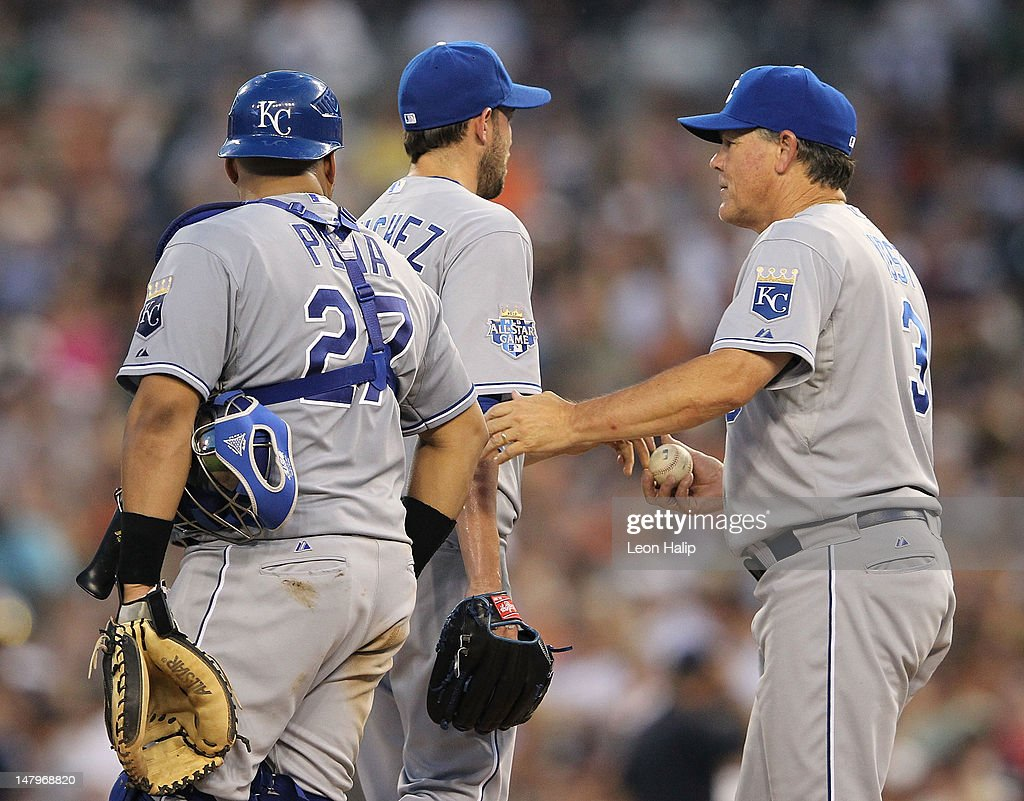 Manager <a gi-track='captionPersonalityLinkClicked' href=/galleries/search?phrase=Ned+Yost&family=editorial&specificpeople=228571 ng-click='$event.stopPropagation()'>Ned Yost</a> #3 of the Kansas City Royals makes a pitching change and replaces starting pitcher <a gi-track='captionPersonalityLinkClicked' href=/galleries/search?phrase=Jonathan+Sanchez&family=editorial&specificpeople=534575 ng-click='$event.stopPropagation()'>Jonathan Sanchez</a> #57 in the sixth inning during the game against the Detroit Tigers at Comerica Park on July 6, 2012 in Detroit, Michigan. The Tigers defeated the Royals 4-2.