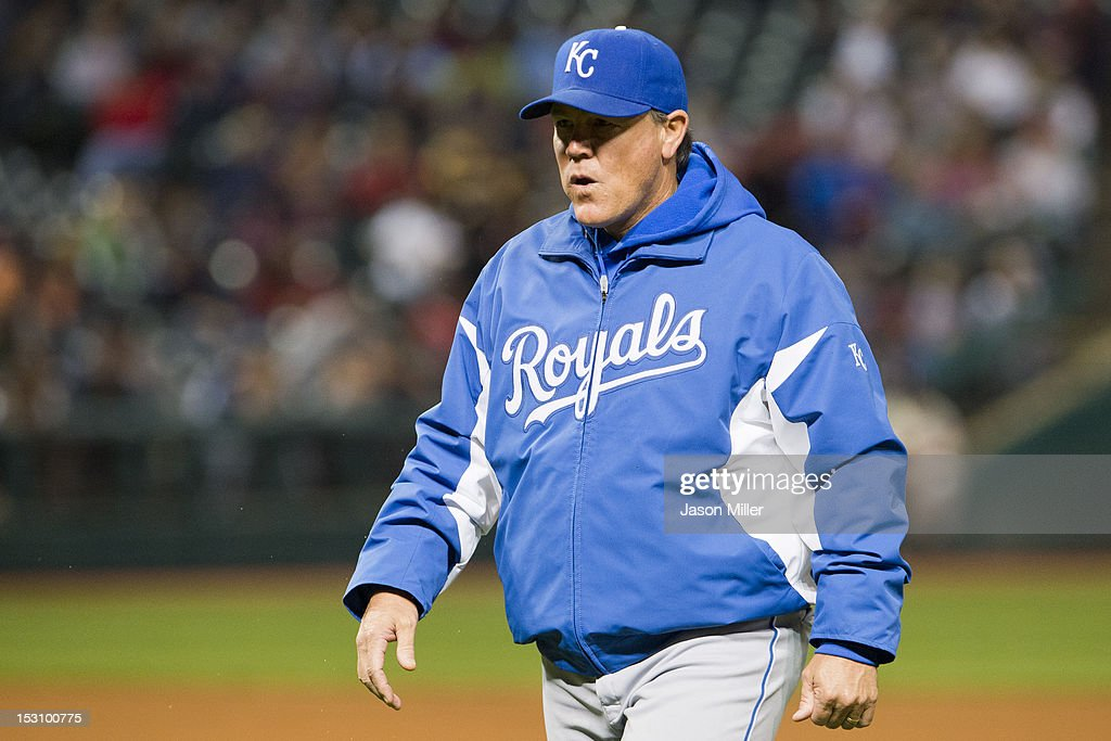 Manager <a gi-track='captionPersonalityLinkClicked' href=/galleries/search?phrase=Ned+Yost&family=editorial&specificpeople=228571 ng-click='$event.stopPropagation()'>Ned Yost</a> #3 of the Kansas City Royals returns to the dugout after discussion with the umpire during the sixth inning against the Cleveland Indians at Progressive Field on September 29, 2012 in Cleveland, Ohio.