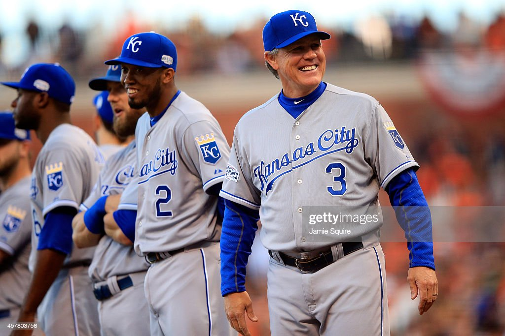 Manager Ned Yost #3 of the Kansas City Royals smiles before Game Three of the 2014 World Series at AT&T Park on October 24, 2014 in San Francisco, California.