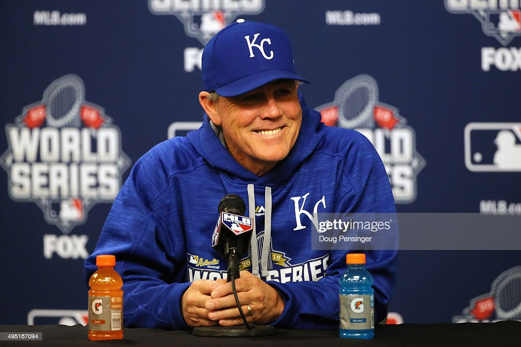 Manager <a gi-track='captionPersonalityLinkClicked' href=/galleries/search?phrase=Ned+Yost&family=editorial&specificpeople=228571 ng-click='$event.stopPropagation()'>Ned Yost</a> #3 of the Kansas City Royals speaks to the media before Game Four of the 2015 World Series against the New York Mets at Citi Field on October 31, 2015 in the Flushing neighborhood of the Queens borough of New York City.