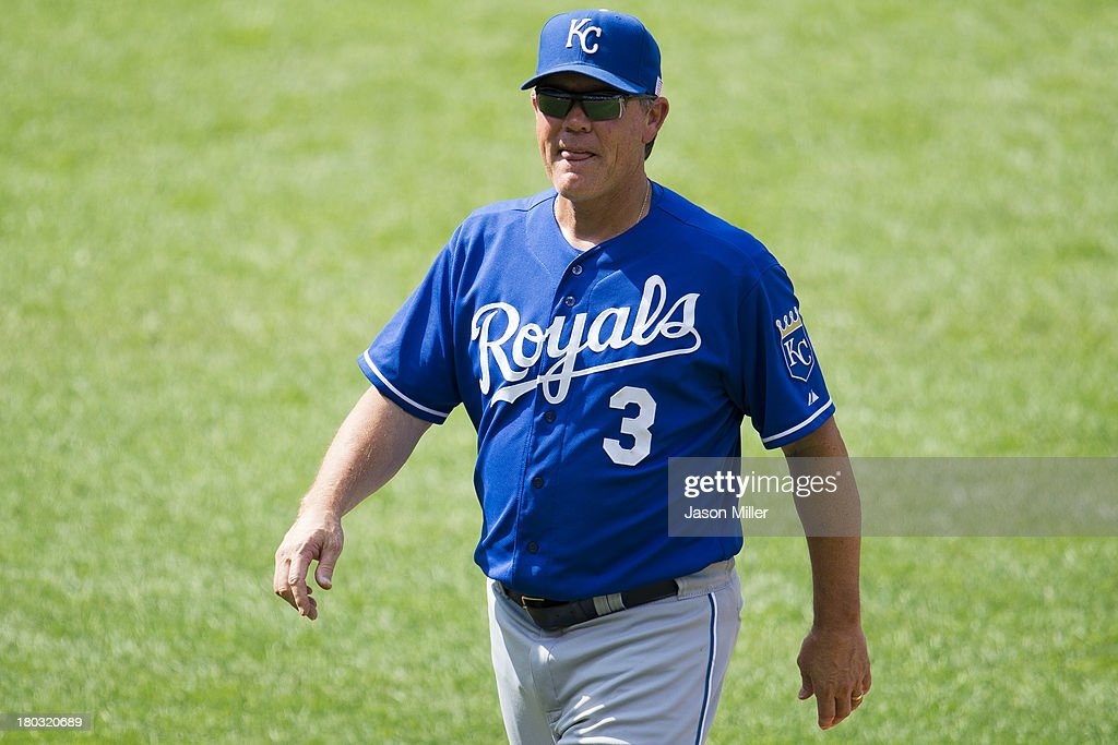 Manager <a gi-track='captionPersonalityLinkClicked' href=/galleries/search?phrase=Ned+Yost&family=editorial&specificpeople=228571 ng-click='$event.stopPropagation()'>Ned Yost</a> #3 of the Kansas City Royals walks off the field after a pitching change during the ninth inning against the Cleveland Indians at Progressive Field on September 11, 2013 in Cleveland, Ohio. The Royals defeated the Indians 6-2.