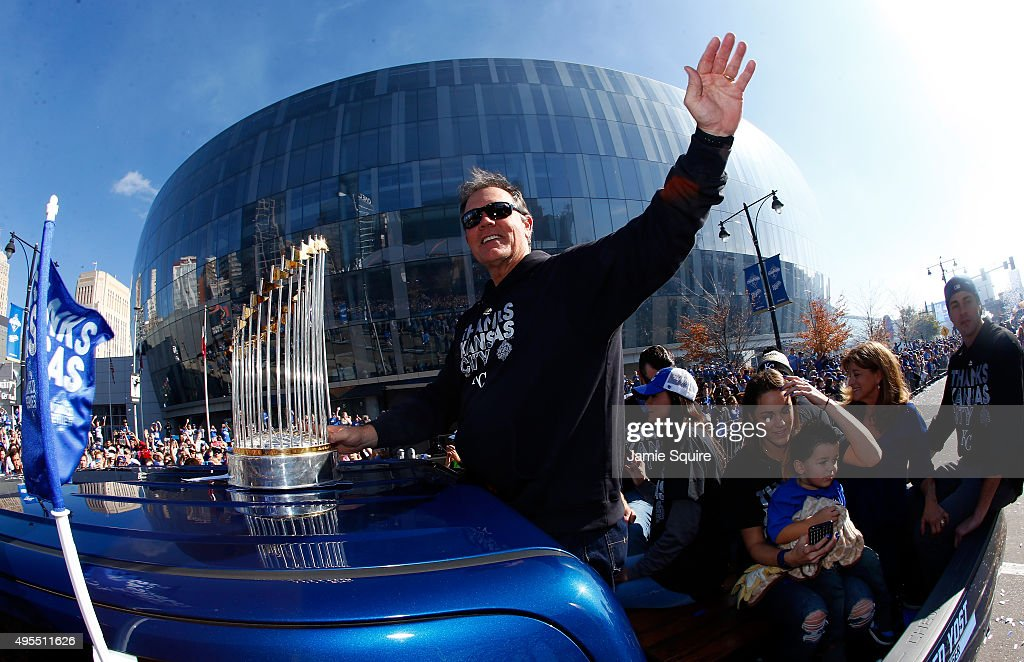 Manager Ned Yost #3 of the Kansas City Royals waves to the crowd during a parade and celebration in honor of the Kansas City Royals' World Series win on November 3, 2015 in Kansas City, Missouri.