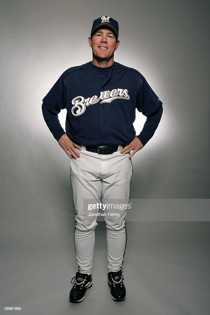 Manager Ned Yost of the Milwaukee Brewers poses for a portrait during the Milwaukee Brewers Media Day on February 27 2006 at Maryvale Stadium in...