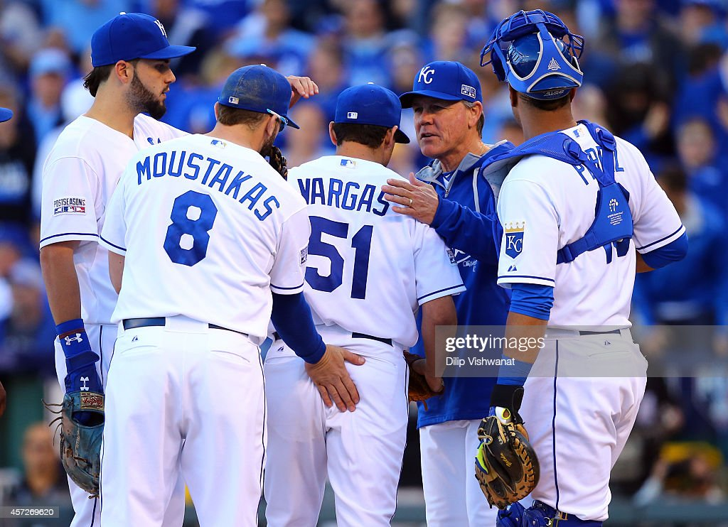 Manager <a gi-track='captionPersonalityLinkClicked' href=/galleries/search?phrase=Ned+Yost&family=editorial&specificpeople=228571 ng-click='$event.stopPropagation()'>Ned Yost</a> #3 relieves <a gi-track='captionPersonalityLinkClicked' href=/galleries/search?phrase=Jason+Vargas&family=editorial&specificpeople=640899 ng-click='$event.stopPropagation()'>Jason Vargas</a> #51 of the Kansas City Royals in the sixth inning against the Baltimore Orioles during Game Four of the American League Championship Series at Kauffman Stadium on October 15, 2014 in Kansas City, Missouri.