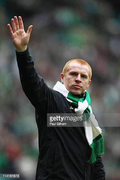 Manager Neil Lennon of Celtic waves to the crowd at the end of the Clydesdale Bank Premier League match between Celtic and Motherwell at Celtic Park...